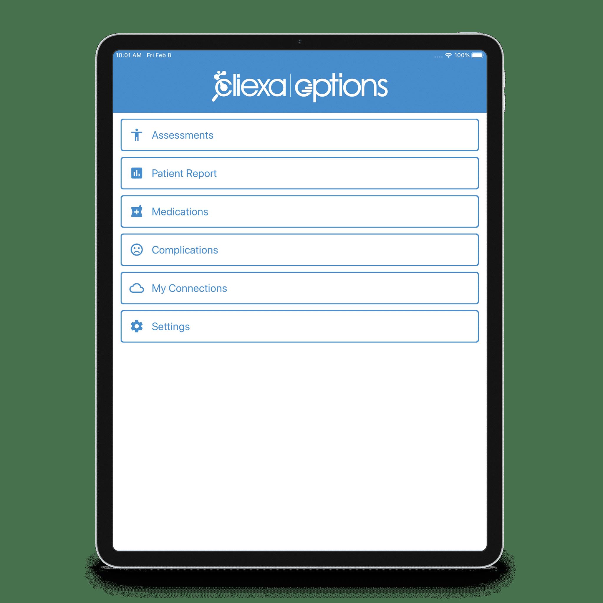 cliexa-OPTIONS iPad Mockup