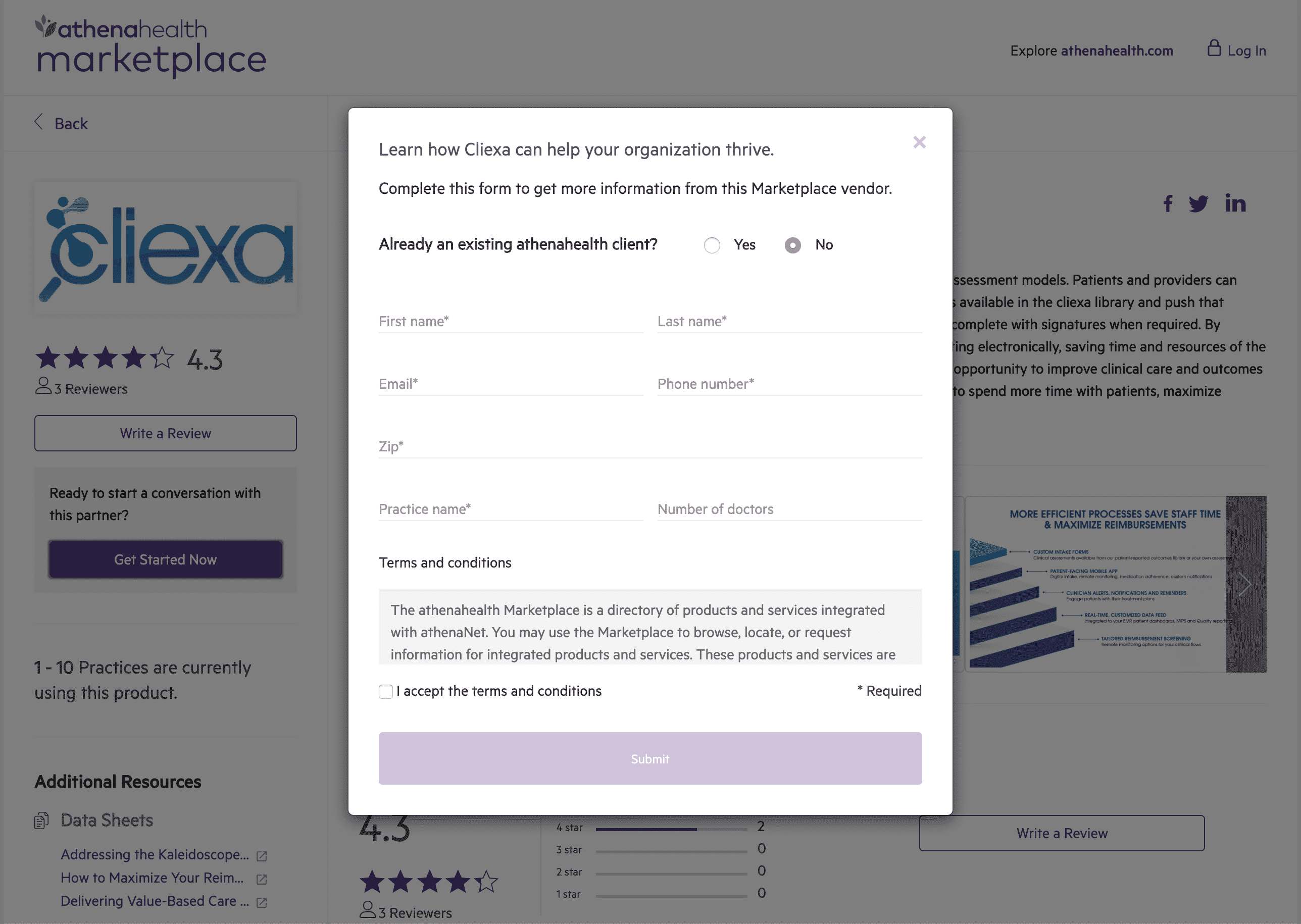 cliexa's athenahealth Marketplace Setup Guide (Step #3)