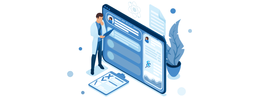 Doctor looks at the patient's electronic chart on the tablet. Health care concept. 3d isometric. Concept for web design-01