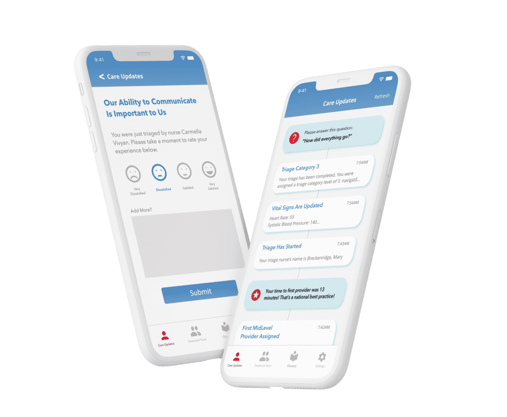 Flying Iphone X mockups for navigatER, a patient experience platform for emergency care by cliexa