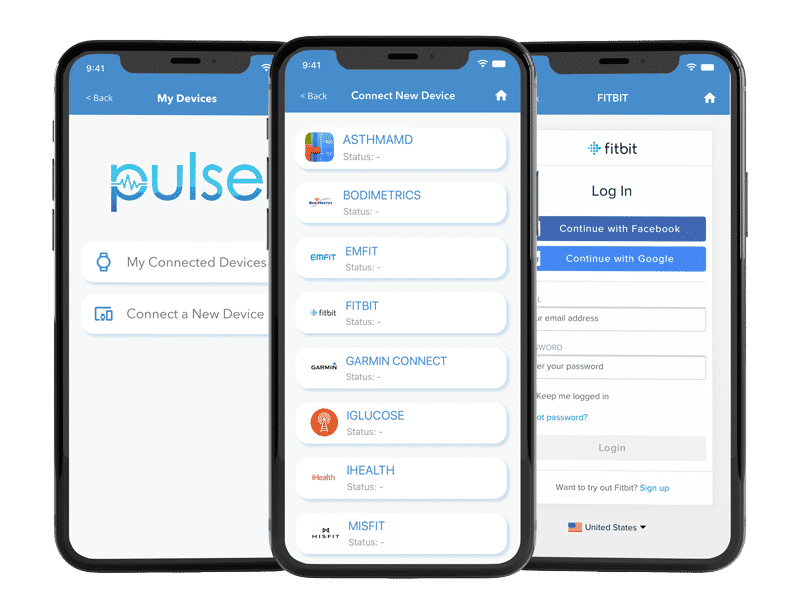 cliexa-PULSE for Cardiology: Connected Device Data (iPhone Mockups)