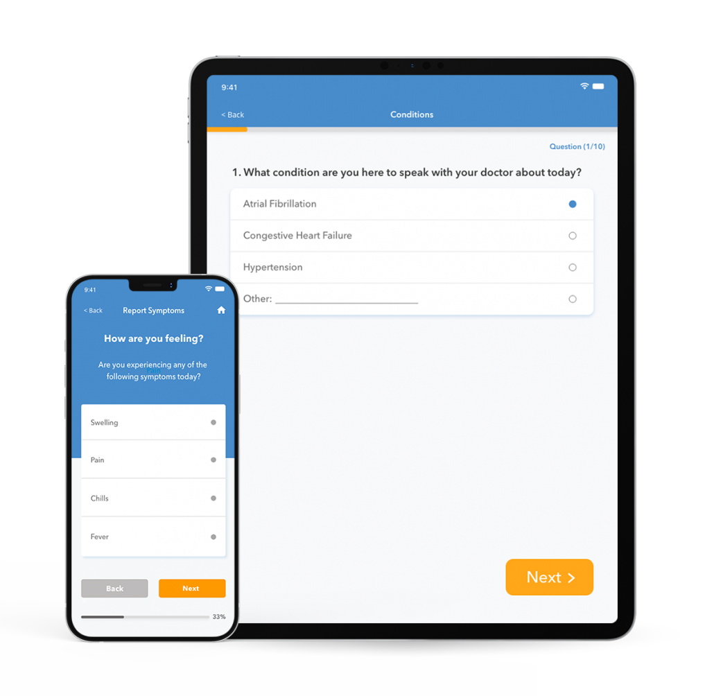 Mockup of iphone and ipad with an example patient onboarding flow